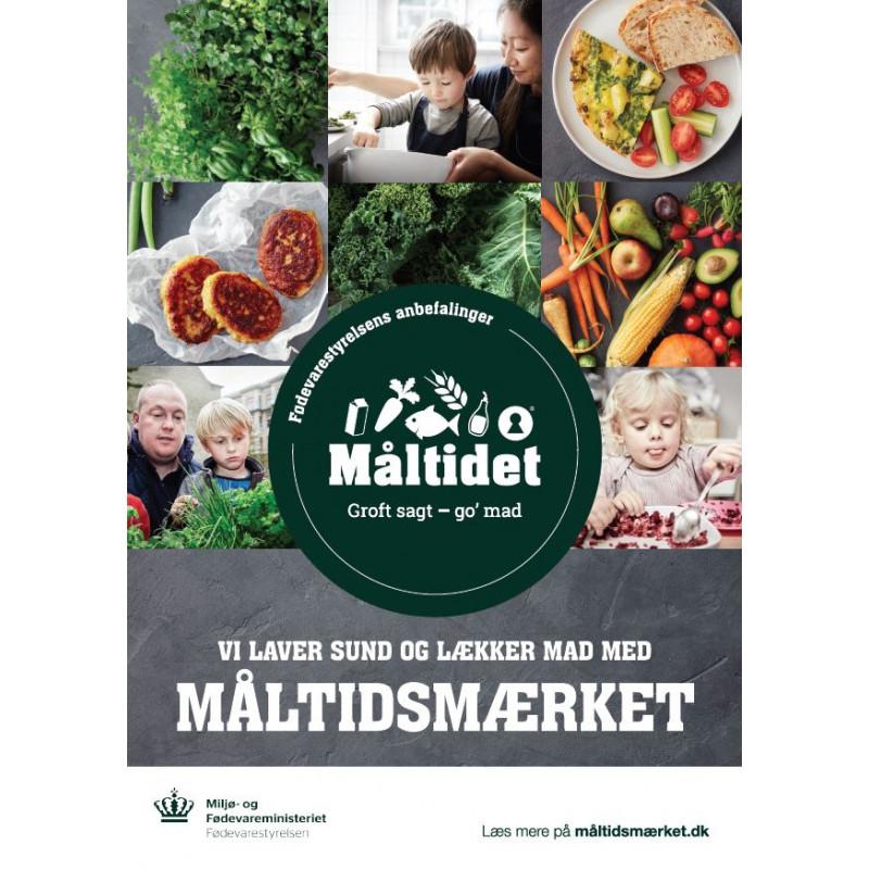 """A3 Plakat  """"Vi laver sund og lækker mad med Måltidsmærket"""" (til daginstitutioner)"""