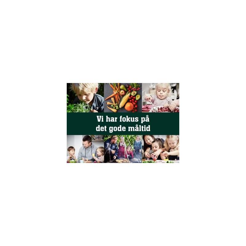 """A6 Postkort til forældrene i daginstitutioner. Rammer """"Vi har fokus på det gode måltid"""""""