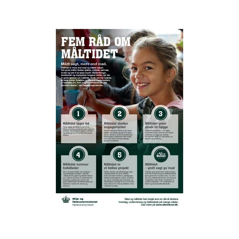 """A4 plakat – """"Fem råd om måltidet"""" (til skoler og fritidsordninger)"""